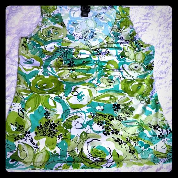 31e8c8aa4ac0b5 INC International Concepts Tops - INC green floral sleeveless top